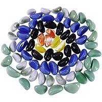 UKCOCO 500g Acuario Decoración, Guijarro Piedra de Cristal de Vidrio, Pulida Artificial Piedras de Acuarios, Microlandscape Piedra Decorativa (Color Mezclado)