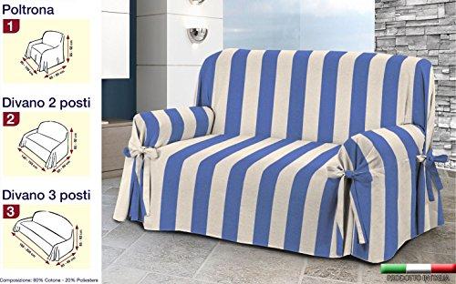 Centesimo web shop copridivano laccetti in 3 misure e 4 colori tessuto jacquard righe rigato strisce - tre posti blu