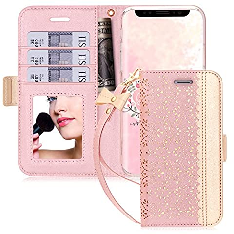 iPhone X Case, iPhone X Cover, WWW [ Mirror Series] PU Leather Case Kickstand Flip Case with Card Slots and Mirror for Apple iPhone X Edition (2017) Rose