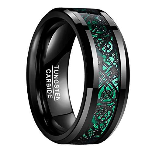 Natur Fashion - Damen Herren Partner Ring aus Wolfram 8mm Schwarz-Grün mit Keltischen Drachen für Hochzeit Verlobung Geburtstag Größe 59