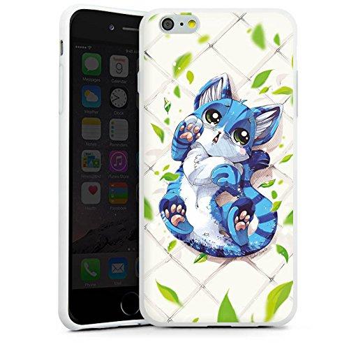 Apple iPhone X Silikon Hülle Case Schutzhülle Blaue Katze Cat Kitty Silikon Case weiß
