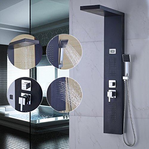 AuraLum® 304#Edelstahl Design Wasserfall Duschset mit LCD Display Wassertemperatur Anzeigen Duschpaneel Duscharmatur Duschsäule mit Massagejets Schwarz
