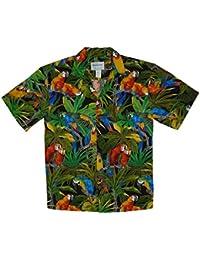 KY´s| Chemise Hawaïenne D'Origine | Pour Hommes | S - 8XL | Manche Courte | Poche Avant | Hawaiian-Imprimer | Perroquet Jungle | Noir