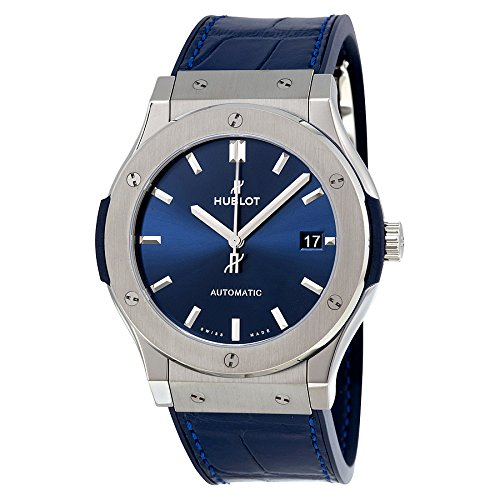 Hublot Men's 45mm Blue Alligator Leather Band Automatic Watch 511.NX.7170.LR