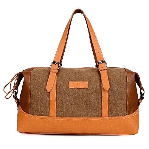 Happytimebelt 45cm Trim Weekender borsa da viaggio, borsone in tela, Brown, L Brown