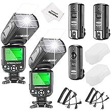 Neewer® - Kit de flash Speedlite NW-561 con pantalla LCD para Canon, Nikon y otras cámaras DSLR, incluye 2 flashes NW-561 + 1 disparador inalámbrico 2.4GHz + 1 transmisor + 2 receptores + 1 paño de microfibra para limpieza