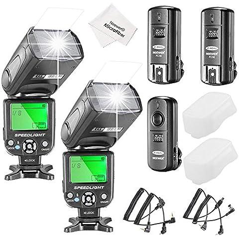 Neewer® NW-561pantalla LCD FLASH Speedlite Kit para Canon Nikon y otras cámaras réflex digitales, incluye: (2) NW-561Flash + (1) 2.4GHz Disparador Inalámbrico (1* Transmisor + 2* receptor) + (1) paño de limpieza de microfibra