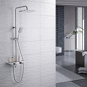 Homelody 38ºC Termostático Columna de ducha Conjunto de Ducha con Barra Ducha de lluvia Alcachofa de la Ducha Sistema de…