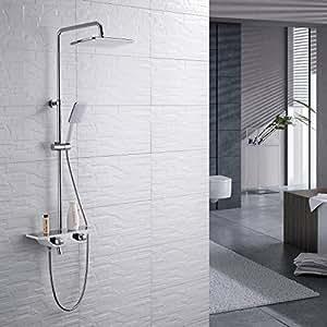 homelody colonne de douche thermostatique ensemble de douche pour baignoire set de douche avec. Black Bedroom Furniture Sets. Home Design Ideas