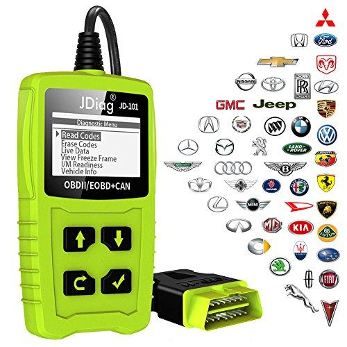 Lector de averías para coche JDiag JD101 OBD2, herramienta de diagnóstico, códigos de error, apto para vehículos EOBD con función de prueba de batería