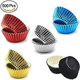 YUYIKES 500 pcs Metallic Foil Paper Muffin Cupcake molds Baking Cups Standard Size