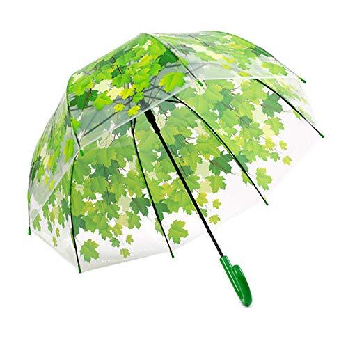 AN Blatt-Regenschirm, Pilz-Blatt-Regenschirm Transparenter Starker PVC Transparenter Blatt-Blasen-Regenschirm,Grün