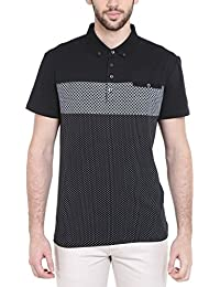 Dream Of Glory Inc. Men's Branded Half Sleeve Geo Printed Striped Cotton Polo Neck Buttoned Collar And Pocket...