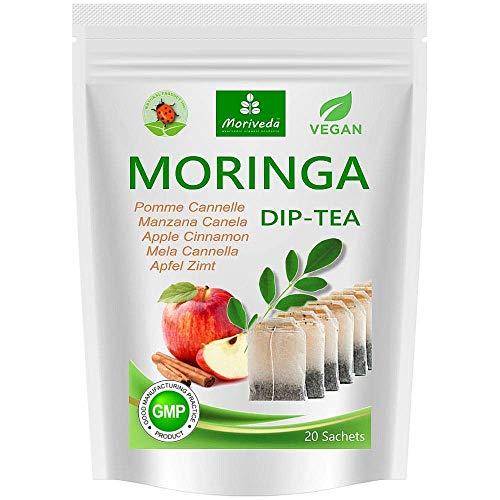 Moringa Tee 100% natürlich & vegan (wahlweise Moringa-Blattmischung, Apfel-Zimt, Granatapfel, Ingwer, Minze). Qualitätsprod. von MoriVeda (20 Beutel Moringa Apfel-Zimt)