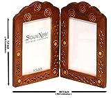 SouvNear Marco de fotos doble - hecho a mano en madera - marcos de la foto de la gemelas con trabajo