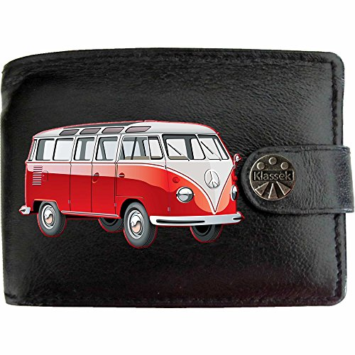 <span class='b_prefix'></span> Red Campervan image only image on KLASSEK Brand Men Wallet Purse Real Black Leather Volkswagon VW campervan accessory gift with Metal Box NOT OFFICIAL Volkswagon VW Merchandise