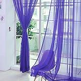 Fenster Vorhang Sheer, bunt, floral Tüll Voile Tür Vorhang Panels für Wohnzimmer, Voile Vorhang Panel (1Stück, lila)