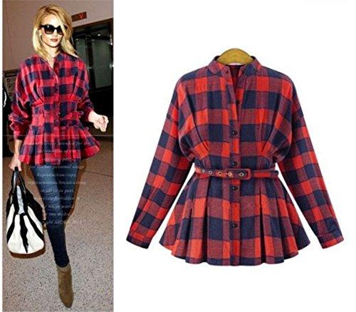Blansdi Damen Mädchen Frauen Herbst Winter Beiläufig lange Ärmel Gitter lange Basic Button Oberseiten Bluse Hemd Blusen Tuniken Lässige Tops T-Shirt Übergröße mit Gürtel Rot