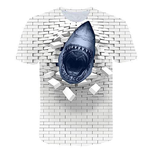 Männer 3D T-Shirt Mode T-Shirt kühlen Druck schlanke Sommer Hip-Hop-Top lässig, Broken Wall Shark Digitaldruck 6XL (Street Sharks Kostüm)
