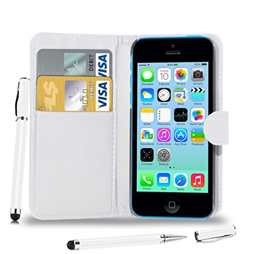 Apple iPhone 5C - Leder Brieftasche Tasche Buch + 2 in 1 Stylus Pen + Screen Protector & Poliertuch ( Blue ) White