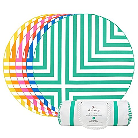 Round Beach Towel (Green - Cross Design - 190cm) -