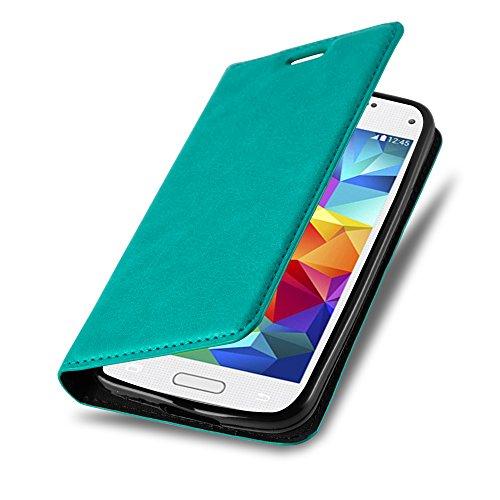 Cadorabo Hülle für Samsung Galaxy S5 Mini / S5 Mini DUOS - Hülle in Petrol TÜRKIS – Handyhülle mit Magnetverschluss, Standfunktion und Kartenfach - Case Cover Schutzhülle Etui Tasche Book Klapp Style