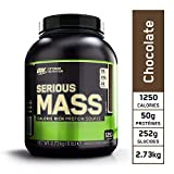Optimum Nutrition Serious Mass, Mass Gainer Whey, Proteines Musculation Prise de Masse avec Vitamines, Creatine et Glutamine, Chocolat, 8 Portions, 2.73 kg