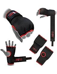 Vendajes para manos acolchados negros boxeo mma ufc adulto y niños - Negro con borde rojo, Extragrande
