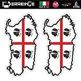 ERREINGE Sticker x2 SARDINIEN ITALIEN Aufkleber geformtes PVC für Abziehbild, Wand, Auto, Motorrad,...