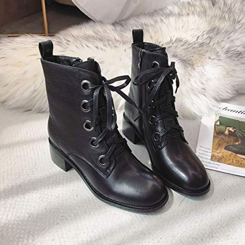 HOESCZS Bottes Martin Boots Winter Leather Winter Boots Martin Boots Cotton Fashion Femme's BootiesB07K16FG1FParent 6f20da