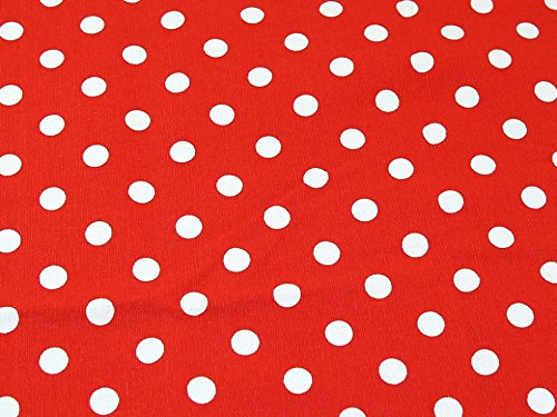 Spotty Polka Dot Print Baumwolle Canvas Stoff, Meterware, Rot -
