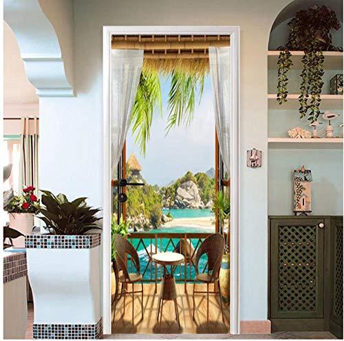Dekoration 3D kreative Landschaft Tür Aufkleber wasserdicht Wandaufkleber dekorative Innentür Bad Tür Aufkleber Pavillon