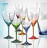Bohemia Kristall Weingläser KATE 250 ml mit Gravur und bunt sortiert, 6 - Set