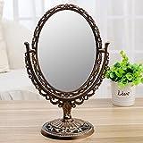 Beauty Mirror Makeup Mirror Magnification Vanity Cosmetic Mirror Desktop Mirror European Retro Mirror Dual-Sided Dressing Portable Princess Mirror Folding Mirror,Bronze,20.5×29.8Cm
