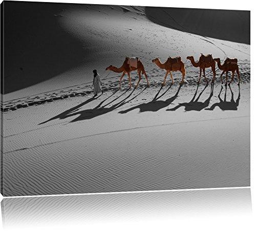 Kamelkarawane in der Sahara schwarz/weiß Format: 60x40 auf Leinwand, XXL riesige Bilder fertig gerahmt mit Keilrahmen, Kunstdruck auf Wandbild mit Rahmen, günstiger als Gemälde oder Ölbild, kein Poster oder Plakat - Sonnenaufgang In Der Wüste Fertig