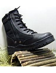 McAllister Army Outdoor Boots Patriot Style Stiefel mit Schnellverschluss Arbeitsschuhe Kampfstiefel Securitystiefel Schwarz 37-47