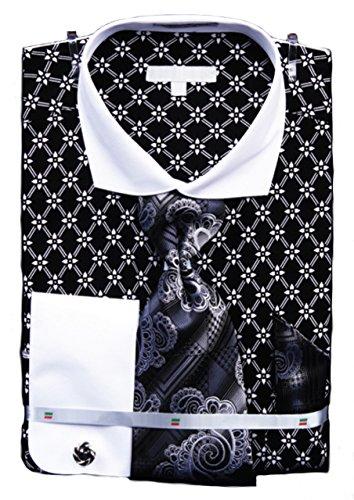 Men's, French Floral Shirt, Krawatte, Manschettenknöpfe, Einstecktuch und Manschettenknöpfe Schwarz