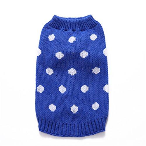 swiduuk Fashion Lovely Pet Strick High Neck Pullover Weiß Polka Dots Hund Puppy Apparel Kleidung - Polka Dots Jumper
