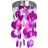 Lonfenner Pastorale soffitto luce Crystal shell lampada camera da letto salotto lampada soffitto lampada luce ristorante sala Portico luce viola conchiglie (altezza 25 cm larghezza 20cm) , Purple