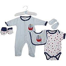 Set de regalo de 6 piezas para recién nacido, Diseño Sailboat Ahoy niños