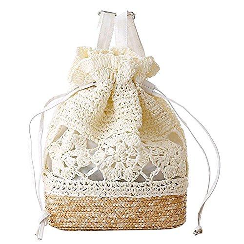 LAAT Frauen Tunnelzug Schulter Rucksack handgemachter Haken Blumen Beutel beiläufige Handtaschen Stroh strickte Hochschulwind in Dunkelbraun weiß