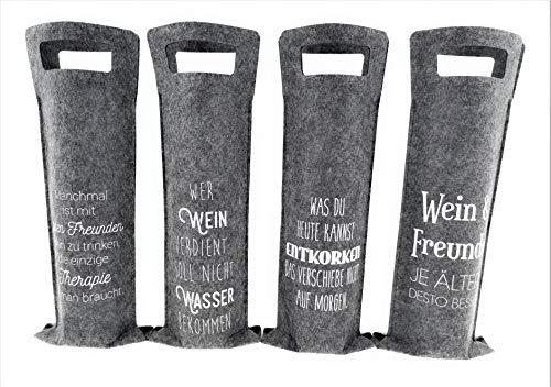 MC Trend 4er Set Filz Wein Flaschen-Tasche-Tüte mit Sprüchen Exclusive Geschenk-Idee-Verpackung