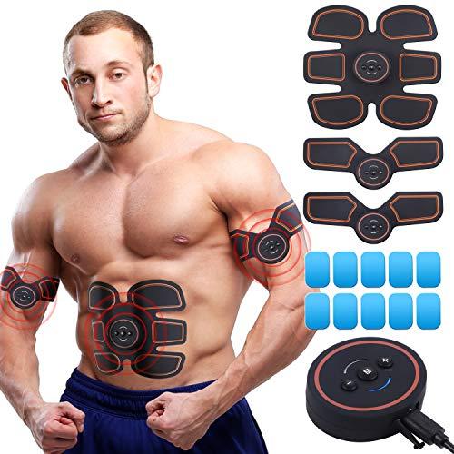 UYGHHK Elettrostimolatore Muscolare, EMS Suscolo Addominale, Toning Belt per Addome/Braccia/Gambe Ricaricabile con 10 Cuscinetti in Gel, Attrezzature per Home & Gym Fitness