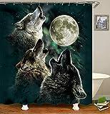 chenyuuu Dream Moon Wolf Stars Wunderschöner Duschvorhang, Wasserdicht, Schnell Trocknend, Lichtecht, Leicht Zu Reinigen, 12 Haken. 180X180Cm