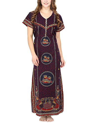 Secret Wish Women's Cotton Brown Maternity Nighty