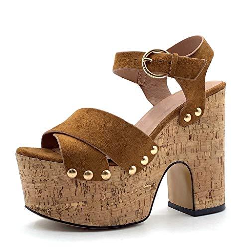Camel High Heels (Angkorly - Damen Schuhe Sandalen Mule - Offen - große Plateauschuhe - Bequeme - Nieten-Besetzt - Kork - gekreuzte Riemen Blockabsatz high Heel 13.5 cm - Camel 2 W019-6 T 38)