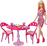 Barbie Glam Dining Room Set with Barbie Doll - Very Rare - Plates, Glasses 10+ Accessories