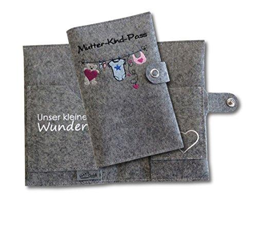 Mutter-Kind-Pass Hülle Deluxe Wäscheleine aus 100% Wollfilz - nur passend für den österreichischen Mutter-Kind-Pass