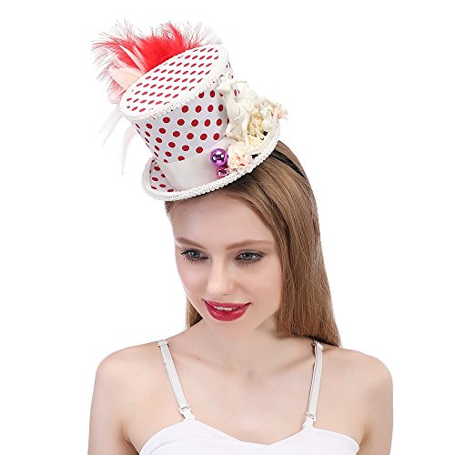 SANHENGMIAO STORE Für Damenhüte Roter und weißer Hut, Feiertags-Hut, Mikro-Minirock-Spitzenhut Schneeflocke-Weihnachtshut (Farbe : Weiß, Größe : ()