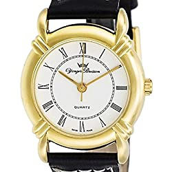 Yonger & Bresson Classic Ladies Quartz Watch, Gold-Colour Case, Crown and Hands, White Dial DCP 2326/02 leather bracelet: black; white dial; Ø: 26 mm; Genuine Swiss-Made Analogue Quartz Watch